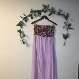 NWT Lavender Strapless Maxi Dress